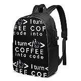 Lawenp Convierto el café en código Mochila USB Impresa de Moda Bolso de Hombro de 17 Pulgadas Bolso para portátil Mochila de Moda Negro