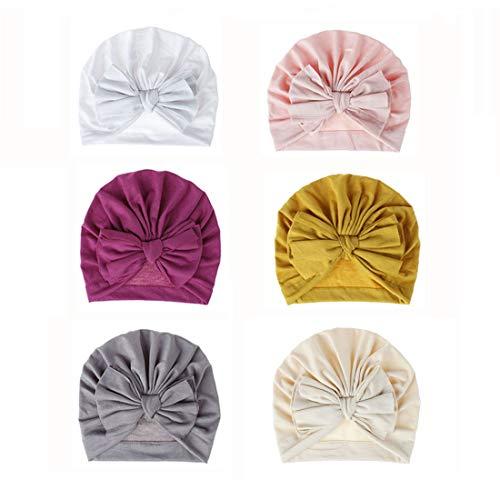 Bestjybt 6 Pcs Baby Turban Knot Hats Newborn Infant Toddler Hospital Hat Cotton Head Wrap (6 Pcs-Style 04)