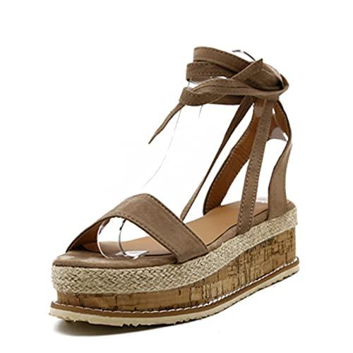 DZQQ Zapatos deVerano paraMujer, Alpargatas de cuña Blancas, Sandalias de Mujer, Sandalias de Gladiador con Punta Abierta, Sandalias de Plataforma con Cordones Informales para Mujer