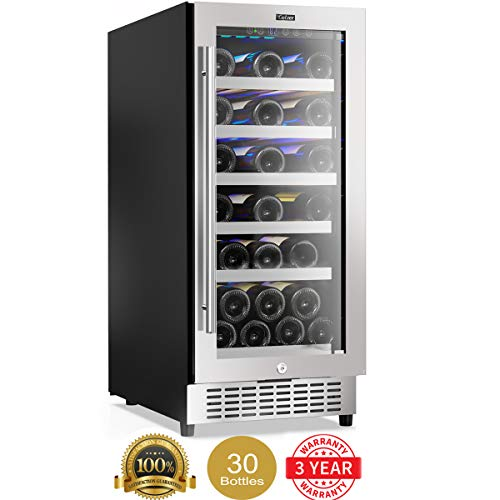 Colzer 15 Inch Wine Cooler, 30-Bottle Wine Fridge Refrigerators Small Wine Chiller Built-in Under Counter Freestanding Mini Wine Cooler Refrigerator with Lock Wine Cellar Storage Digital