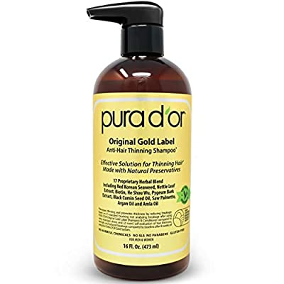 PURA D'OR IS THE LEADER IN HAIR THINNING THERAPY FOR THICKER & FULLER HAIR: PURA D'OR Original Gold Label Anti Hair-Thinning Shampoo w/ Biotin and DHT Herbal Ingredients is proven & tested to reduce hair thinning. It promotes hair strength & thicknes...