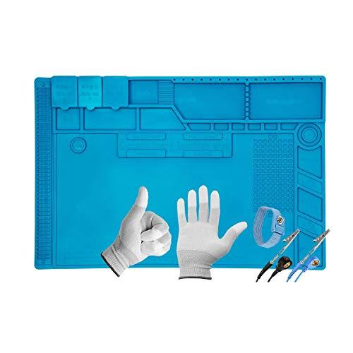Minadax - Tappetino antistatico XL ESD, 48 x 31,8 cm, con passante per polso e guanti, in silicone,...