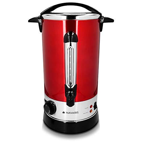Navaris Pentola Bollitore 10l Vino Acqua - Dispenser Acqua Calda Vin Brul Caff - Distributore Elettrico Bevande Calde con Rubinetto - Rosso