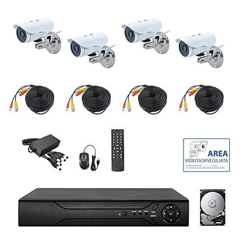 KIT VIDEOSORVEGLIANZA AHD IP CLOUD DVR 4 CANALI 4 TELECAMERE HD INFRAROSSI 2 MPX HD 500 GB