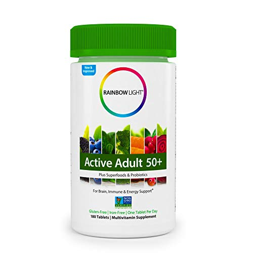 Rainbow Light Active Adult 50+ Non-GMO Project Verified Multivitamin, Plus Superfoods & Probiotics - 180 Tablets (Packaging May Vary)