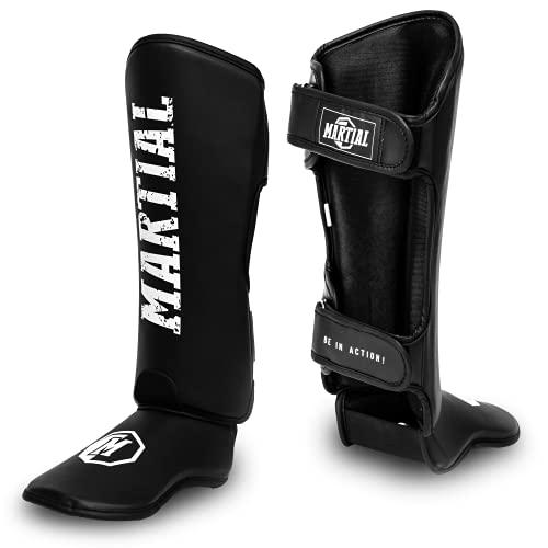 Martial protège-Tibias Parfaitement ajustés et au Rembourrage idéal ! Protège-Tibia avec Faible taux de Sueur pour Une Protection des Jambes pour Les Arts Martiaux, MMA, Kickboxing + Sac !