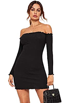 Off the shoulder long sleeve rib-knit pencil mini dress. Basic lettuce trim solid bodycon dress shows your figure elegant This slight stretch dress can wear with high heels ,neckleace, makes you charming. Perfect for daily life, indoor, outdoor, work...