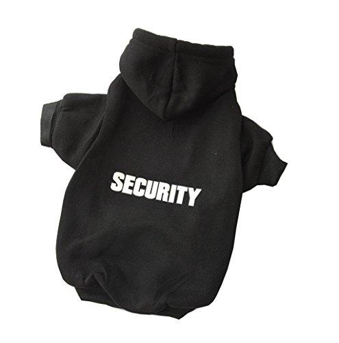 ZoonPark® Hundebekleidung, Kapuzenpullover für kleine, mittelgroße und große Hunde, aus weichem Fleece, Aufschrift: Security, wärmt im Winter