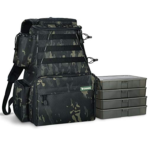 Rodeel Fishing Tackle Backpack with 4 Tackle Tray, 4 Fishing Rod Holders, Large Storage,Backpack for...