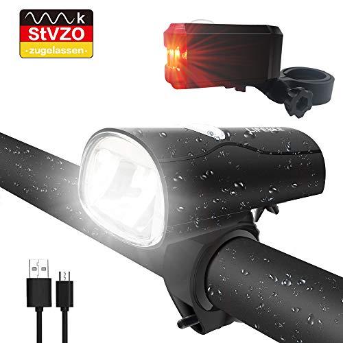LIFEBEE LED Fahrradlicht, LED Fahrradbeleuchtung StVZO Zugelassen USB Wiederaufladbare Frontlicht und Rücklicht Set, Fahrradlampe, 2 Licht-Modi, Fahrradlichter mit USB-Kabel für Mountainbike-MEHRWEG