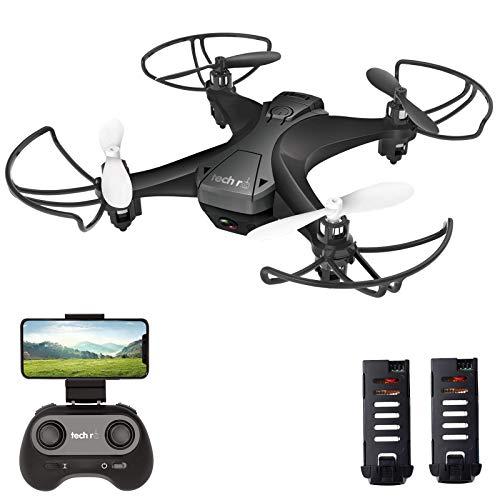 tech rc Mini Drone con Telecamera HD con Due Batterie Funzione di Sospensione Altitudine Un Pulsante di Decollo/ Atterraggio ,modalit Senza Testa Protezioni 360per Bambini e Principianti Buon Regalo