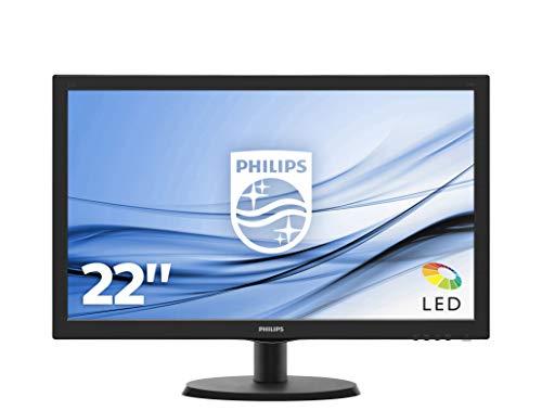Philips Monitor 223V5LSB2 Monitor per PC Desktop 21,5' LED, Full HD, 1920 x 1080, 5 ms, VGA, Attacco VESA, Nero