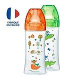 Dodie – Lot de 2 Biberons Anti-Colique Sensation+, Orange Forêt, 330 ml,...