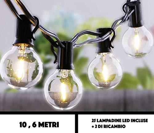 JP-LED Catena Di Luci LED Con 27 Lampadine Led G40 Luci Da Esterno E Da Arredamento  Lunghezza 10,6 M Catena Luminosa Per Giardino, Casa, Decorazioni, Feste, Matrimonio, Natale