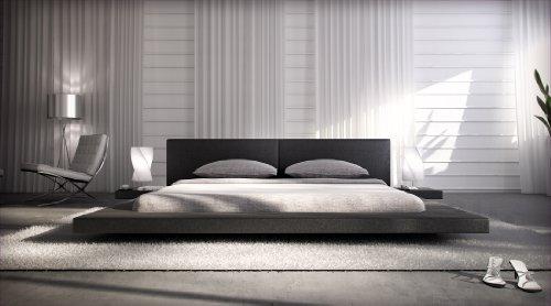 Polster-Bett 200 x 200 cm schwarz aus Kunstleder mit integrierten Nachtkonsolen | Lraep | Das Kunst-Leder-Bett ist ein edles Designer-Bett Doppel-Bett 200 cm x 200 cm mit extrem niedriger Betthöhe