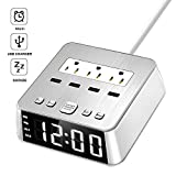 Dual Alarm Clock with USB Charger,Alarm Clock Charging Station Dock with 3 AC Outlets & 4 USB Ports Surge Protector, 6ft Extension Cord UL Listed, USB Bedside Alarm Clock for Bedrooms Home Dorm Hotel