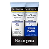 Neutrogena Ultra Sheer Dry-Touch Water Resistant and Non-Greasy Sunscreen Lotion with Broad Spectrum SPF 45, TSA-Compliant travel Size, 3 fl. oz, Pack of 2