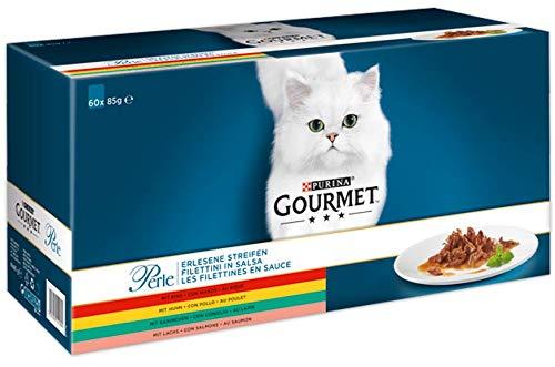 PURINA GOURMET Perle Erlesene Streifen Katzenfutter nass, Sorten-Mix, 60er Pack...