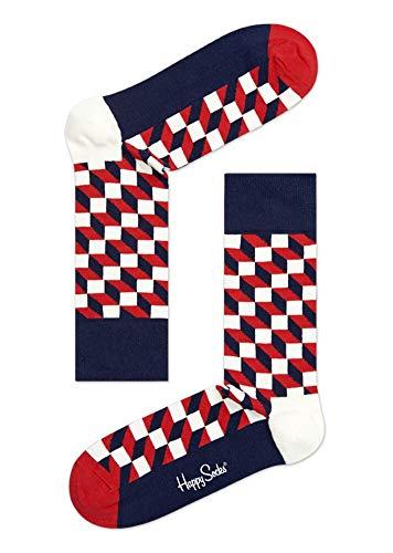 Happy Socks Filled Optic Sock Calzini, 100 DEN, Multicolore (Multicolore (068), 40 (Taille Fabricant: 36-40)-FR Unisex