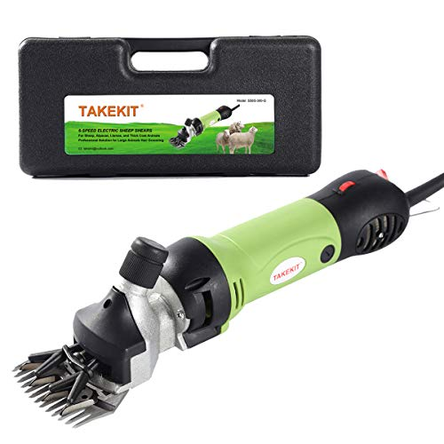 TAKEKIT Sheep Shears Professional Electric Animal Grooming Clippers for Sheep Alpacas Llamas and Large Thick Coat Animals, 6 Speeds Heavy Duty Farm Livestock Haircut Trimmer, 380W