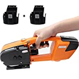 BAOSHISHAN Electric Strapping Tool for 1/2 in-5/8 in PP PET Straps Automatic Strapping Machine 2x3000mha Battery Powered for Box Pallet Portable Electric Baler (Orange)