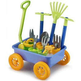 Liberty Imports Garden Wagon & Tools Toy Set for Kids with 8 Gardening Tools, 4 Pots, Water Pail and Spray – Great for Beach & Sand Too!
