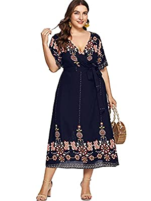 Material: 95% Polyester, 5% Spandex; Fabric has no stretch Feature: surplice v neck or wrap v neck, floral print or sequin, a line, ruffle hem, asymmetrical, belted, high waist Occasion: suitable for Fall, Summer, vacation, beach, casual outtings, pa...