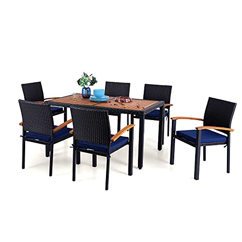 PHI VILLA 7 Piece Outdoor Dining Set for 6, 60' Rectangular Wood Top Metal Dining Table & 6 Cushioned Rattan Chairs for Patio, Deck, Yard