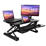 Seville Classics airLIFT Workstation Ergonomic Dual Monitor Riser with Keyboard Tray and Phone/Tablet Holder, Full (36'), Black