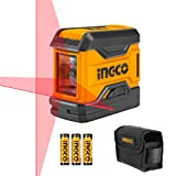 INGCO 50 Feet Horizontal Vertical Cross-Line Laser Level Self-Leveling, Red Beam Line laser for Indoor Construction Picture Hanging Wall Writing Painting Gift HLL156508 (Manual Enclosed)