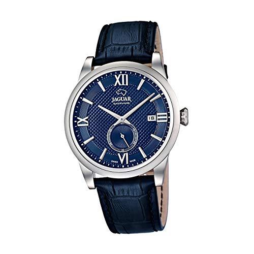 JAGUAR Uhrenmodell J662 / 7 aus der ACAMAR-Kollektion, 42,5 mm blaues Gehäuse mit dunkelblauem Lederarmband für Herren J662/7