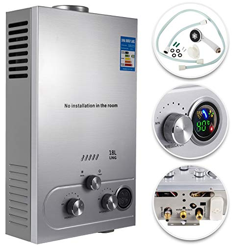 VEVOR Natural Gas Hot Water Heater 18L Tankless Instant Boiler 4.8GPM...