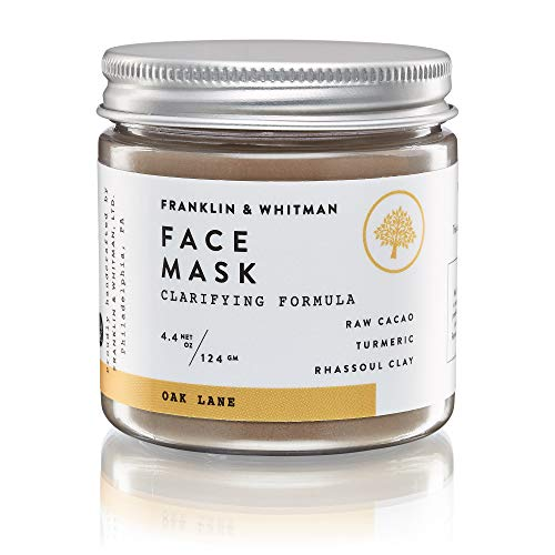 Vegan, Plant Based, Cruelty Free Skincare | Franklin & Whitman Oak Lane Face Mask 2oz Clarifying Formula For Acne Prone, Oily, Combination, and Normal Skin With Raw Cacao, Turmeric, Rhassoul Clay