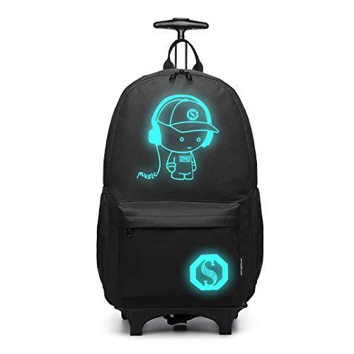 Kono Anime Cartoon Luminous música Boy Backpack Escuela Estudiante Mochila de Moda, Mochila Escolar Unisex Bookbag Maleta De Viaje Trolley Ordenador Mochila (Negro)
