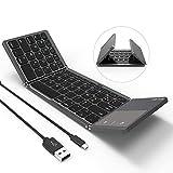 Clavier Pliable sans Fil et Filaire Bluetooth avec Pavé Tactile AZERTY Rechargeable Portable pour PC, Tablette Android, iPad-Gris