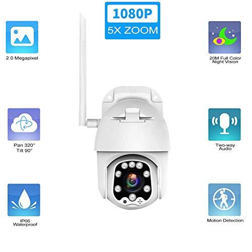 safc Telecamera PTZ Esterno emisfero Zoom 5X WiFi 1080P, con 20 Metri di Visione Notturna rilevamento del Movimento Audio bidirezionale sorveglianza di Sicurezza Domestica telecamera-1080P_5X_Zoo