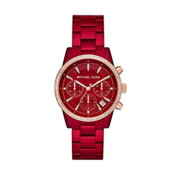Michael Kors Women's Ritz Quartz Watch with Stainless-Steel-Plated Strap, red, 18 (Model: MK6665)