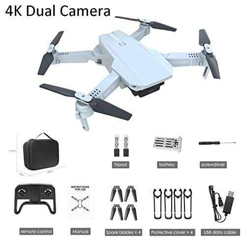 SBUNA Video HD 4K Drone Pieghevole Quadricottero 6 Assi-Giroscopio con Doppio Videocamera, Batteria...