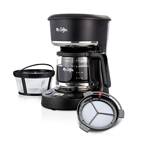 Mr. Coffee 5 Cup Programmable 25 oz. Mini, Brew Now or Later, with Water Filtration and Nylon Reusable Filter, Coffee Maker, Black