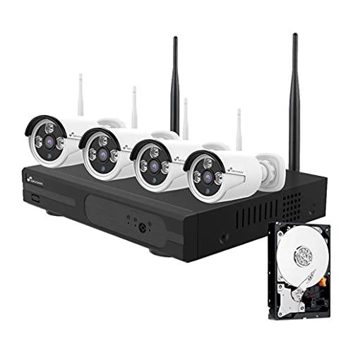 Kit di videosorveglianza Wifi Nivian,3Mpx-Include 4 telecamere e registratore 8 ch(HDD incluso) -Resistente all'acqua IP66-Visione notturna-P2P-Rilevamento movimento-Facile installazione senza cavi