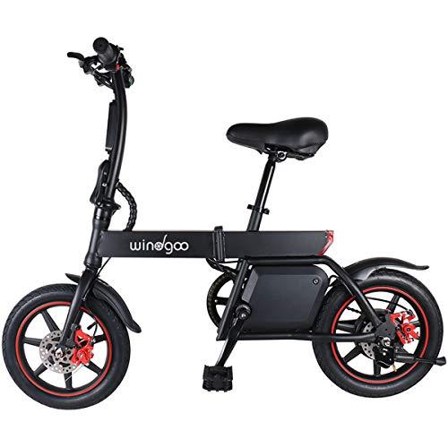 Windgoo Bicicleta Eléctrica Plegables, 350W Motor Bicicleta Plegable 25 km/h y 25 km, Bici Electricas Adulto con Ruedas de 14', Batería 36V 6.0Ah, Asiento Ajustable, con Pedales