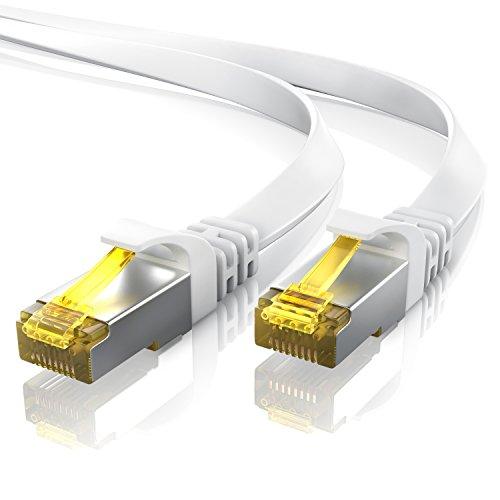 25m Cavo di Rete Cat 7 Piatto - Cavo LAN Ethernet Gigabit 10000 Mbit s Piatto - Cavo Patch - Cavo a schermatura U FTP PIMF con connettori RJ45 - Router Modem Access Point Switch - Bianco