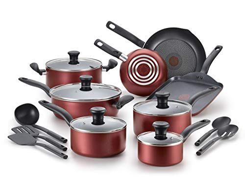 T-fal, Red Initiatives, Dishwasher Safe Nonstick Cookware Set, 18 Piece