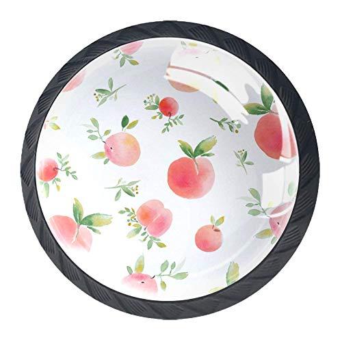 Pomelli rotondi per credenze, cassetti e cassetti, stile cultura cinese, Grazioso rosa pesca., 3.52.8CM/1.381.10IN