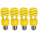 4 Pack BlueX CFL Yellow Bug Light Bulbs 13W - 50-Watt Equivalent - E26 Spiral Replacement Yellow Light Bulbs - Bulb Yellow Decorative Illumination - for Indoor or Outdoor Bug Bulb Colored Bulbs