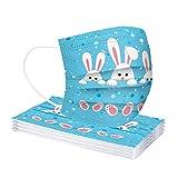 10 Stück Happy Ostern Hase Eier Druck Einweg_Mundschutz, Erwachsene 3-lagig Unisex Staubdicht Einweghülle Atmungsaktive Mund und Nasenschutz Multifunktional Halstuch