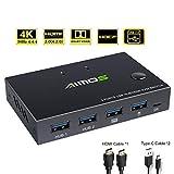 AIMOS KVM Switch HDMI 2 PC IN 1 Monitor Maus Tastatur HDMI Umschalter 4K @ 30Hz für Laptop, PC, PS4, Xbox, Hotkey Nicht unterstützen, Kann mit HUB verbunden Werden, 2 USB Kabel, 1 HDMI Kabel