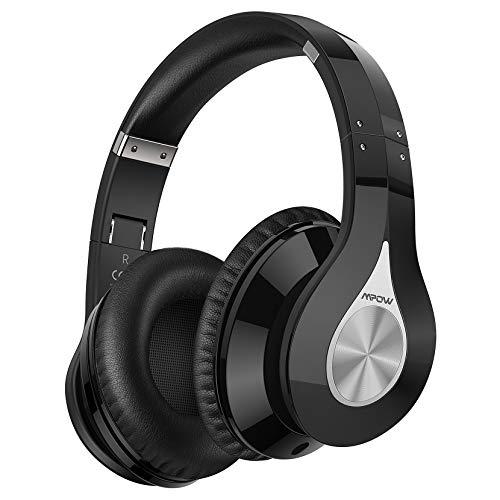 Mpow 100 Hours Bluetooth Headphones, 059+ Bluetooth 5.0 Headphones, Wireless Over Ear Bluetooth Headphones with Built-in Mic, Deep Bass, Hi-Fi Sound, Memory Foam Ear Cups, for Travel, Home Office