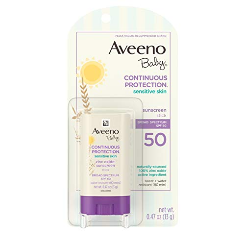 Aveeno Baby Continuous Protection Sensitive Skin Mineral Sunscreen Stick with Broad Spectrum SPF 50 Protection for Face & Body, Naturally Sourced 100% Zinc Oxide, Travel Size, 0.47 oz