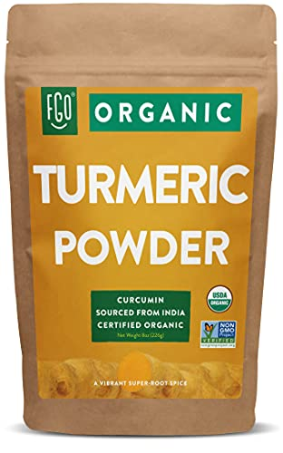 Organic Turmeric Root Powder w/ Curcumin | Lab Tested for Purity | 100% Raw from India | 8oz/226g Resealable Kraft Bag | by FGO